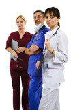 Three proud doctors on white isolated background poster