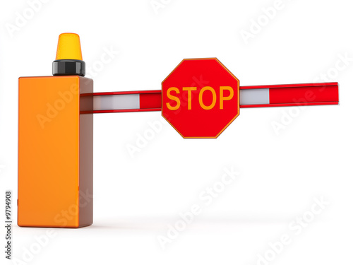 barrier with sign stop on white background