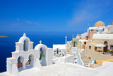 Fototapety Church bells on Santorini island, Greece