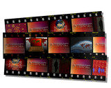 Filmstrip including internet news and laptop subjects poster