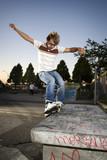 Inline Skater doing a grind on bench poster