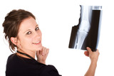 Young attractive female doctor holding a knee x-ray poster