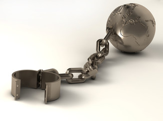 Metallic sphere with world map and chain - 3d render