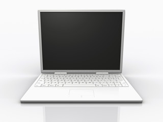 Stylish white laptop on white background - rendered in 3d
