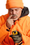 man lost with gps wearing blaze orange hunting gear poster