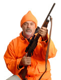 hunter holding rifle in blaze orange gear.. poster