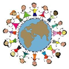Enfants du monde globe complet