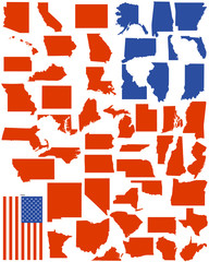 vector states of america with flag