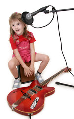 little girl in audio studio
