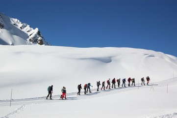 people in snow mountains
