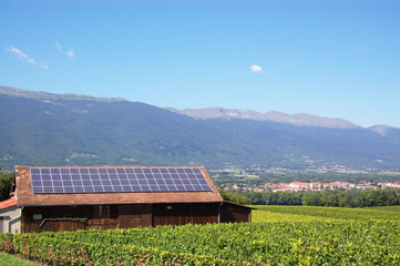 summer rural landscape with solar panel