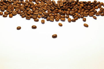 Coffee seeds isolated on a white background