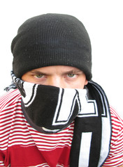 Hooligan bully violent man footbal fan with scarf