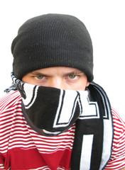 Hooligan bully violent man footbal fan with scarf