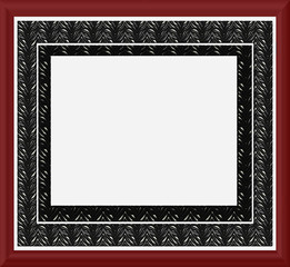 Red & Black Waxed Border Frame - with isolated clipping
