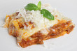 Freshly baked lasagna with grated parmesan