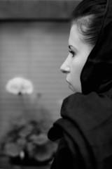 monochrome closeup portrait of inconsolable widow