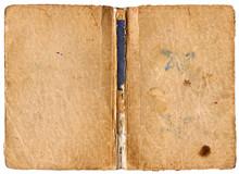 Ouvrir le livre avec colonne vertébrale endommagée - isolé sur blanc