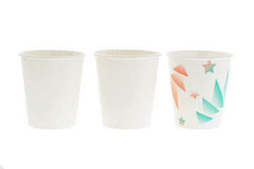 Disposal paper cups on white background