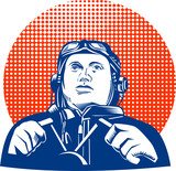 World War two pilot looking up poster