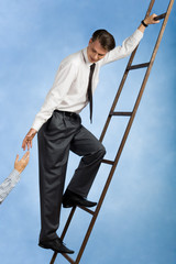 Image of professional going upwards the ladder
