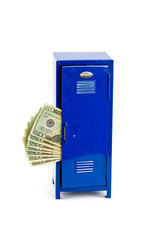 Money Sticking Out of a School, Work, or Gym Locker