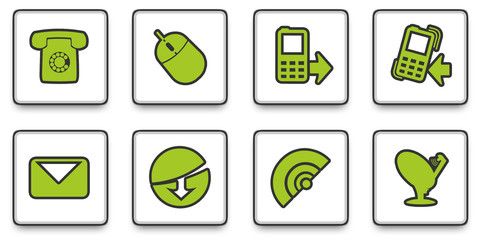 Green web communication icons or buttons