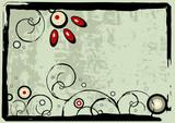 Editable modern vector grunge floral background poster