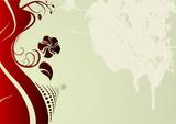 Editable grunge retro vector floral design poster