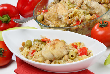 Chicken meat with chick-peas,olives and tomato