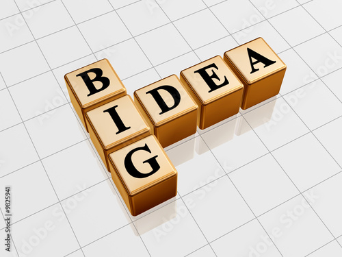 3d golden boxes with black letters, text - big idea, crossword