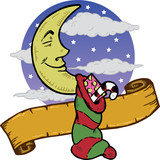 Moon at Christmas with a stocking full of presents illustration