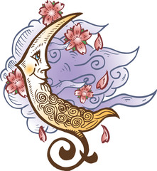 Cresent Moon Against Soft Clouds Tattoo Style Illustration