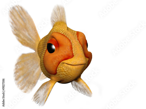 happy goldfish cartoon. A cartoon goldfish looking very happy and content.