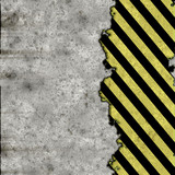 A grunge background featuring hazard stripes and stone poster