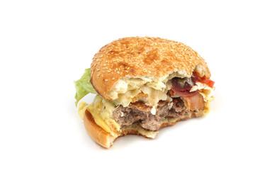 Half-eaten hamburger