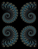 Hi-Res Futuristic background based on fractal pattern on black