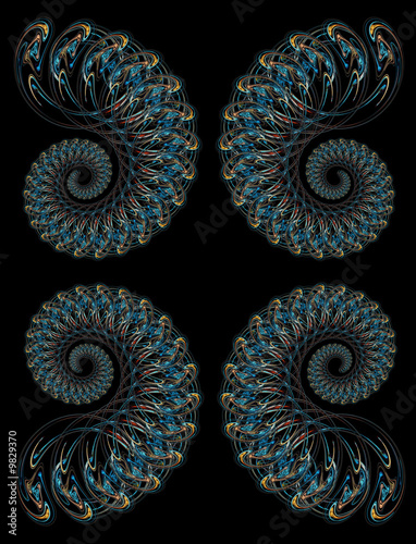 Staande foto Fractal waves Hi-Res Futuristic background based on fractal pattern on black