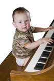 Happy little genius playing Chopin. Isolatred with clipping path poster