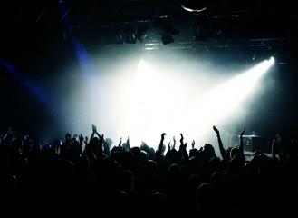 Feiernde Fans in weißem Licht