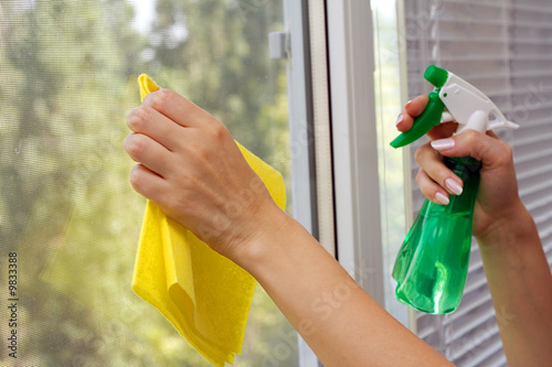 Hands with spray cleaning the window - 9833388