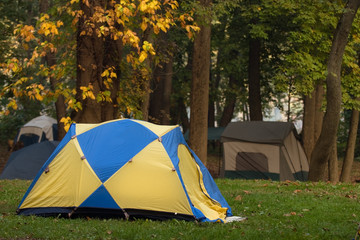 Tents under trees in Pennsylvania campground