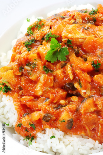 Chicken curry over steamed white rice.