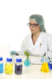 Scientist in a laboratory doing research  documents results poster