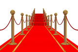 Red carpet path on a stair. 3D image. poster
