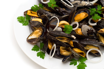 boiled mussels on white background