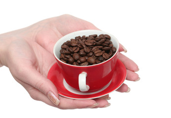 The  cup with fragrant coffee