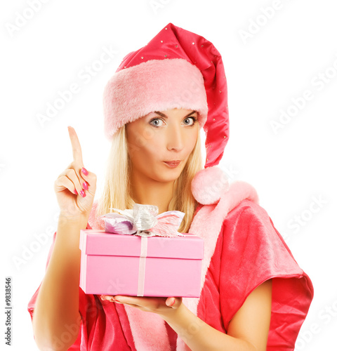 mrs. Santa with a gift box has an idea