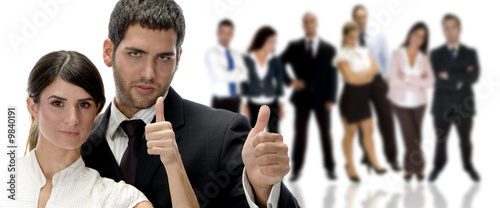 portrait of business couple with hand gesture