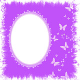 Pretty Lilac Butterflies Blended Frame - With Isolated Clipping
